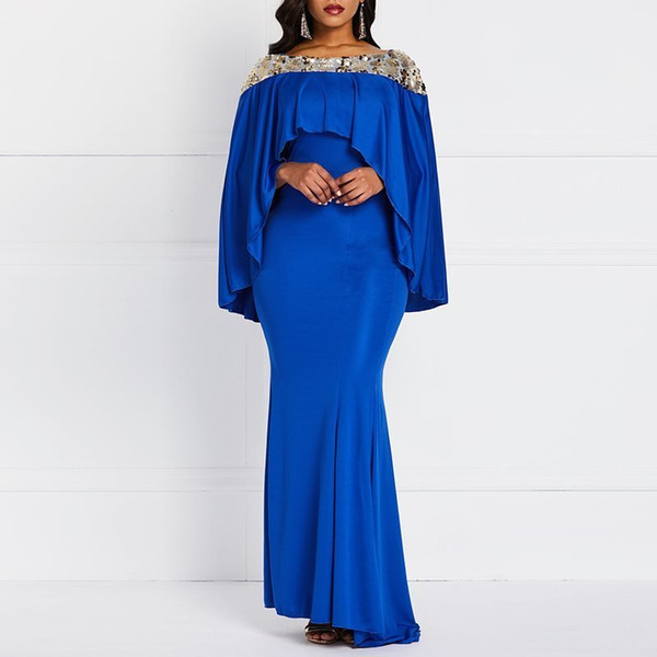 Spring Evening Party Date Mermaid Bodycon Maxi Dress Robe African Women Royal Blue Sequin Cape Ruffle Extra Long Dresses C19041501