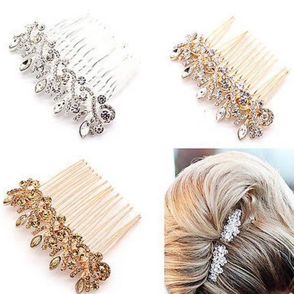 Accessori per capelli da sposa Clips Romantico Crystal Pearl Flower HairPin Strass Tiara Bridal Crown Hair Pins Sposa pettine