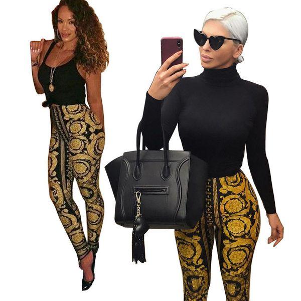 best selling Women Printed Leggings Vintage Skin Tight Jogging Pants High Fashion Night Out Sports Yoga Leggings OOA6820