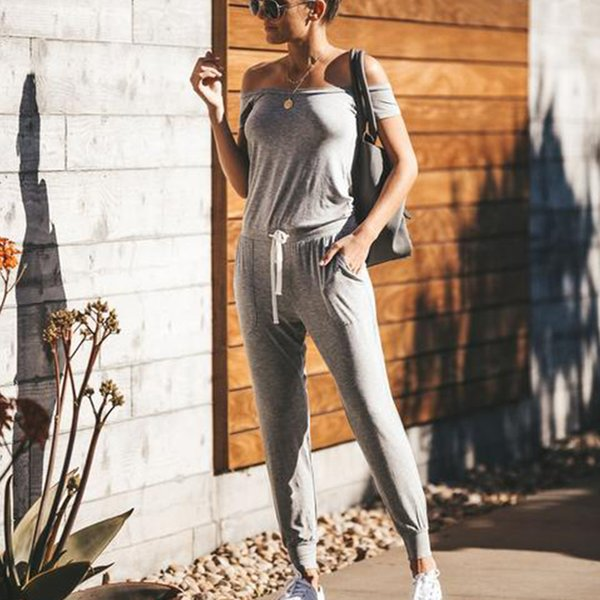 2019 Off Shoulder Women's Sexy Jumpsuits Rompers Plain Suits Casual Clothes with Grey Color Sloping-off Shoulder 8341 S-XL