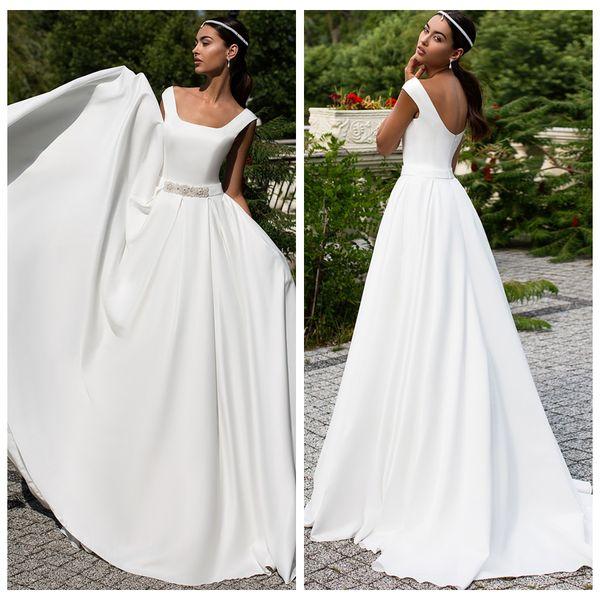 2019 Simple White Square Neck Sleeveless Wedding Dresses Satin A-Line Sweep Train Bride Gowns Vestidos De Novia