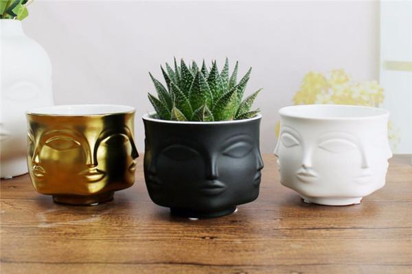 Cara Rosto vaso de flores acessórios de decoração para casa vaso de cerâmica moderna para Flores plantadores de Panela de apoio Atacado