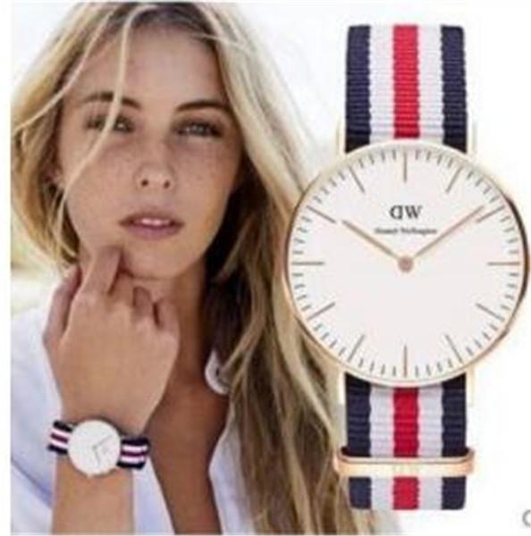 KUTUSU Moda yeni Kızlar Çelik Daniel Wellington ILE yüksek kalite saatler 32mm deri naylon kadınlar Lüks İzle Saat Relogio Montre