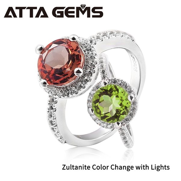 Zultanite Silver Ring Women Fashion Silver Jewelry 2.3 Carats Created Diaspore Sterling Silver Wedding Band Color Change Stone Y19061203
