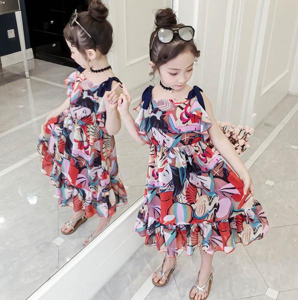 Big girls chiffon dresses bohemian style kids character printed Bows suspender dress children dew shoulder beach dress fit 3-12T F7919