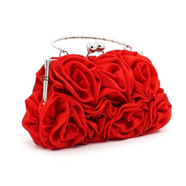 Süße Frauen Hand Rose Handtaschen Braut Tasche Top Griff Taschen Freizeit Stil Bankett und Ball Party Handtasche für formelle Anlässe