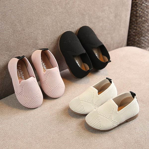 New baby Girl Knitted Hollow Princess Shoes Spring 2019 Korean Children's Net cloth toddler Shoes Super soft and comfortable