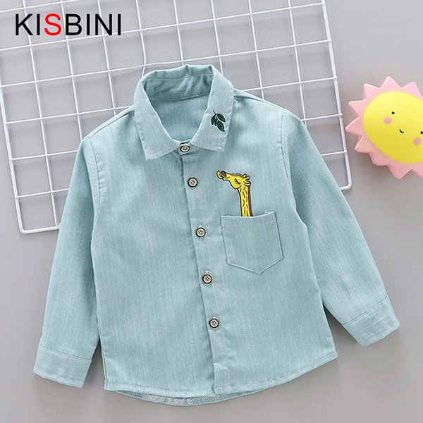 good quality Spring Autumn Baby Boys Shirts Cartoon Long Sleeve shirt Boys Tops Cotton Printed Giraffe Bridge Kids 2 3 4 Years