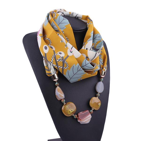 2019 écharpe d'hiver de femme diamants bijoux déclaration des femmes écharpe collier pendentif foulards en mousseline de soie Foulard imprimé femme