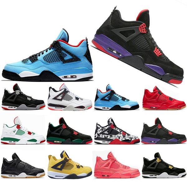 Yeni Stil Bred Dövme 4 IV 4 s Erkekler Basketbol Ayakkabı Travis Pizzeria Tekler Gün Siyah kedi erkek eğitmenler tasarımcı Spor Sneakers ABD 7-13