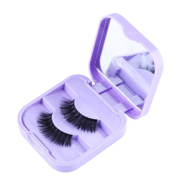 1 Pair Handmade 3D Real Mink Hair False Eyelashes Wispy Glam Thick Long Lashes Mirrow Case Crulty-free Volume Lashes