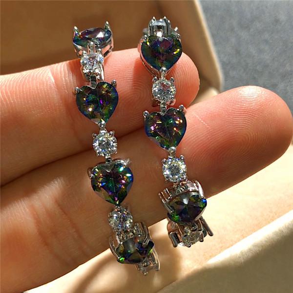 Jóias charme Feminino Rainbow Heart Pulseira de Cristal Cor Prata Pulseiras de casamento bonito para Mulheres