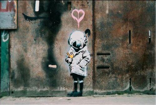 Banksy abstrait graffiti art peinture à l'huile sur toile peinte à la main Art Home Decor Wall Art photo Fish Gril
