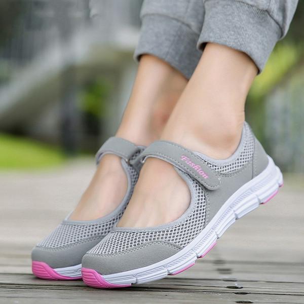 Yeni Kadınlar Flats 2020 İlkbahar Yaz Bayan Mesh Düz Ayakkabı Kadınlar Yumuşak Nefes Sneakers Kadınlar Günlük Ayakkabılar Zapatos De Mujer
