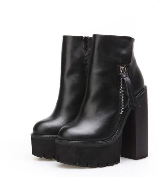 Женщины черный кожаный зимние ботильоны платформа Ботинес 14 см квадратных каблуки Botas Mujer мода мотоцикл загрузки обувь женщина