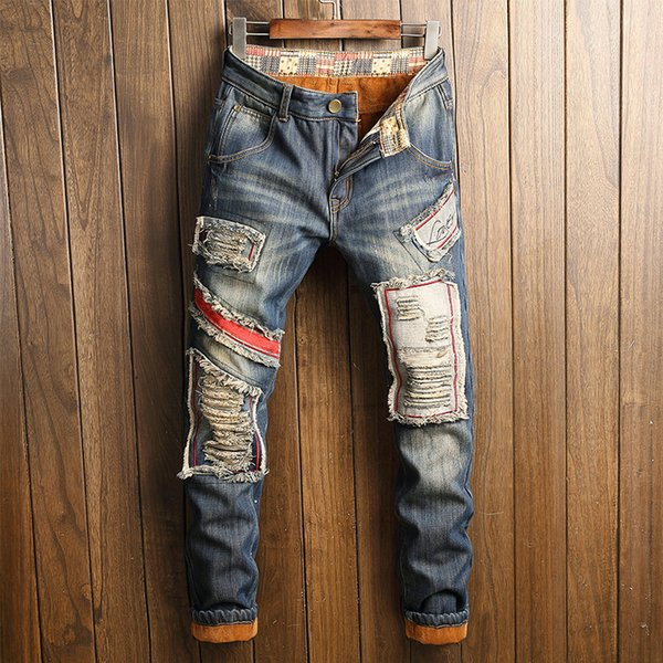 Japanese trend Hole patch Plush jeans male Winter models Thicken Keep warm Loose Straight slim pants mens fashion jeans