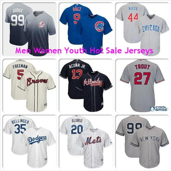 Mens Cody Bellinger Mike Trout Aaron Judge Javier Baez Anthony Rizzo Pete Alonso Los Angeles Dodgers Angels cool base baseball jerseys kids