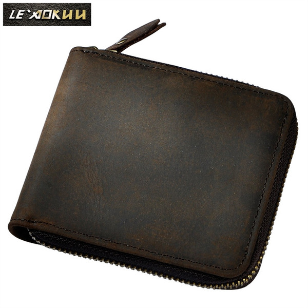 Men Cowhide Vertical Bifold Casual Designer Multifunction Short Card Cash Coin Holder Fahion Zipper Around Purse Wallet 1007 #302414