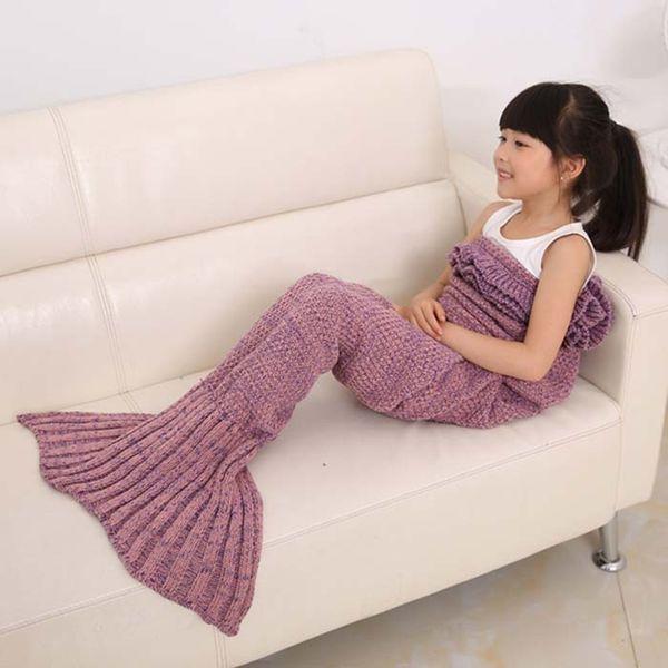 4 Colori Filati Mermaid Tail Coperta Super Soft Sleeping Bed Handmade Crochet Anti-Pilling Coperte Sirena Portatile