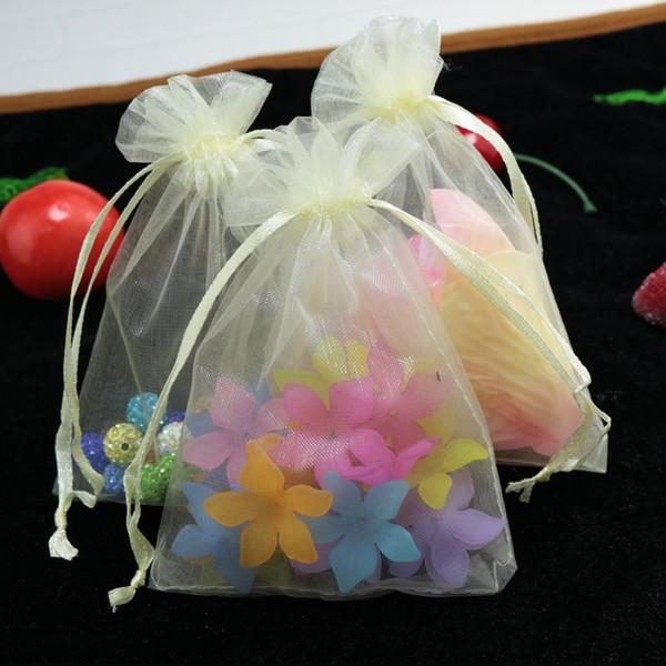 Оптовые 500pcs / серия Beige органза сумки 11x16cm польза свадьба ювелирных изделия мешок милого браслет упаковка сумка органза сумка