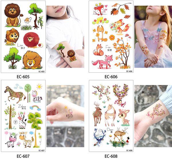 Cartoon Cute Kids finger tattoo Children Flamingo Fox Squirrel Animal Temporary Tattoo Sticker Body Art Fake Flash Taty