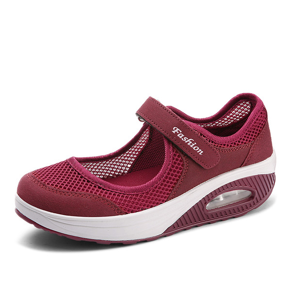 Hook&Loop Thick Bottom for Women Sneaker Breathable Soft Sole Flat Walking Shoes
