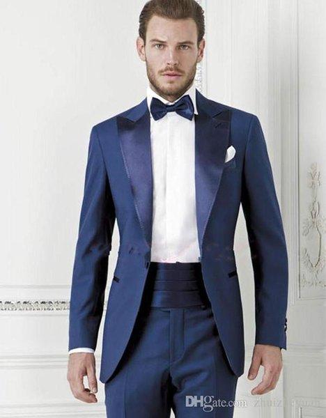 2018 Yeni Moda Koyu Mavi Damat Smokin Ucuz Slim Fit Groomsmen Suit Erkekler Düğün Balo Örgün Durum Smokin Suits (Ceket + Pantolon + Kravat)