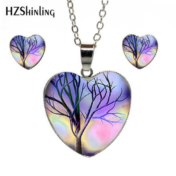 Beautiful The Tree of Life Artwork Photos Jewelry Hand Craft Heart Jewelry Set Accessories Heart Necklace Earrings