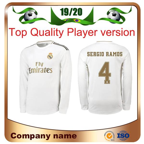19/20 Real Madrid Player version Long Sleeve Champions League HAZARD Soccer Jersey 2019 Home RAMOS KROOS ISCO ASENSIO MODRIC football shirt
