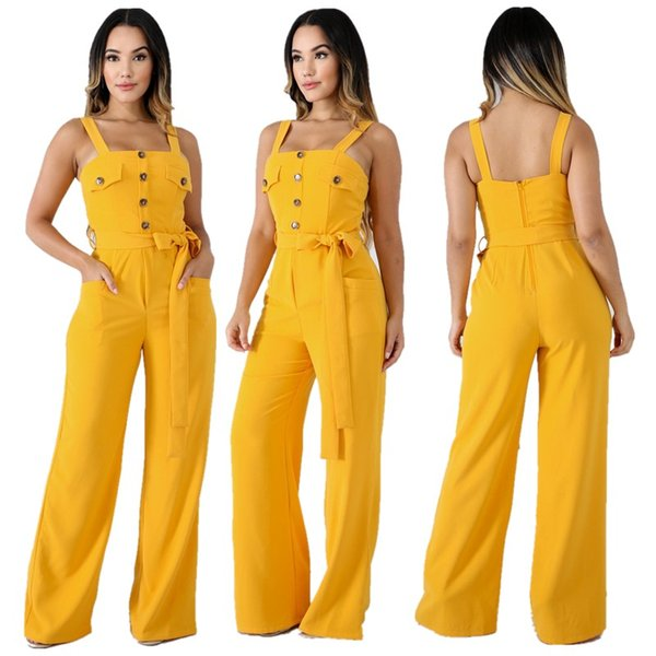 Free Ship Sleeveless Elegant Jumpsuits Women Wide Leg Bodycon Sexy Rompers Summer Autumn Party Long Playsuit Female Outfits