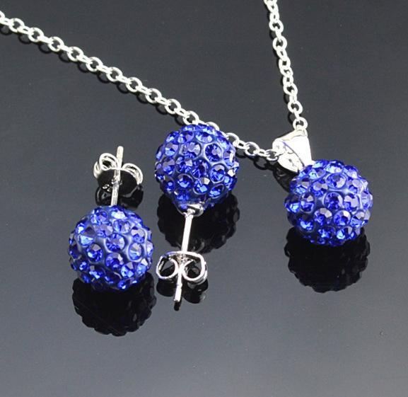 10mm full diamond ball earrings necklace crystal Shambala set earrings necklace set