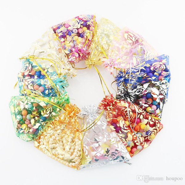 100pcs/lot 7*9cm 9*12cm Exquisite Floral Oganza Bags Travel Gadgets Closet Organizer Kitchen Accessories Home Decor Craft Supplies