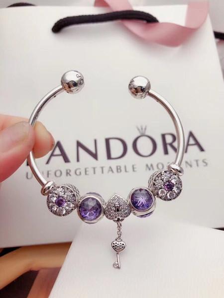 2019 new luxury designer jewelry women pandora charms Pandora Bracelet Blue Series Love Lock Key 925 Silver Open Bracelet
