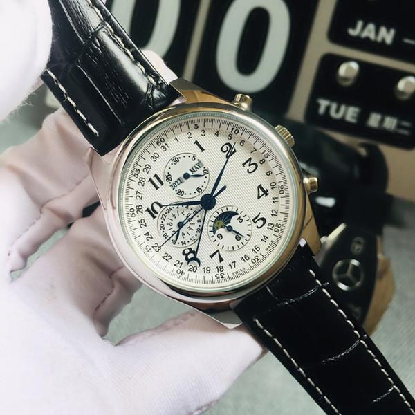 Automatisches mechanisches Uhrwerk Saphirglas Spiegel Mondphasenanzeige Italienisches Lederarmband Schwarzes Lederarmband 42mm 10mm Herrenuhr A1-1
