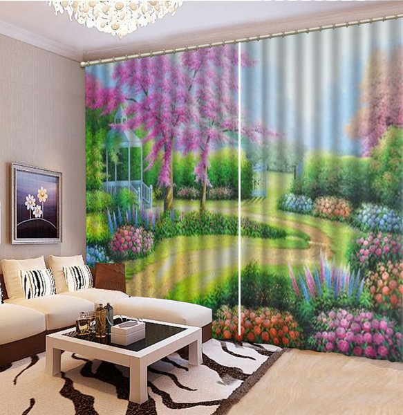 Wholesale 3d Curtain Beautiful Spring Flowers Full Of Oil Painting Landscape HD Digital Printing Beautiful Curtains Natural Beautiful Curtai