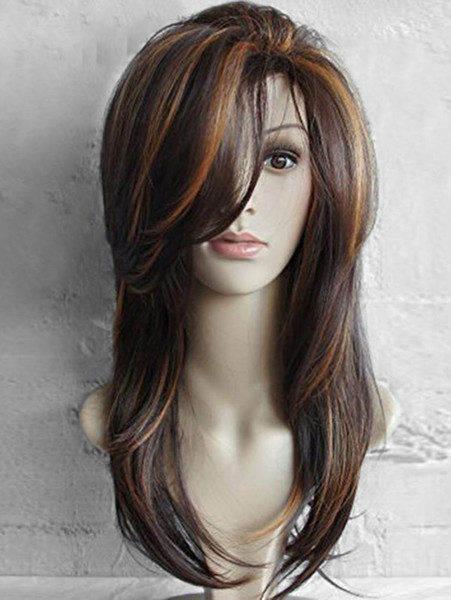 Women Hair Wigs Long Side Bang Highlighted Natural Straight Synthetic Wig Natural Wave African American Heat Resistant Long Wigs BB