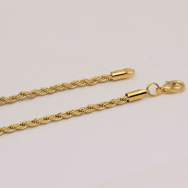 3mm gold-color singapore twisted rope chain engraved dropping chain necklace for men