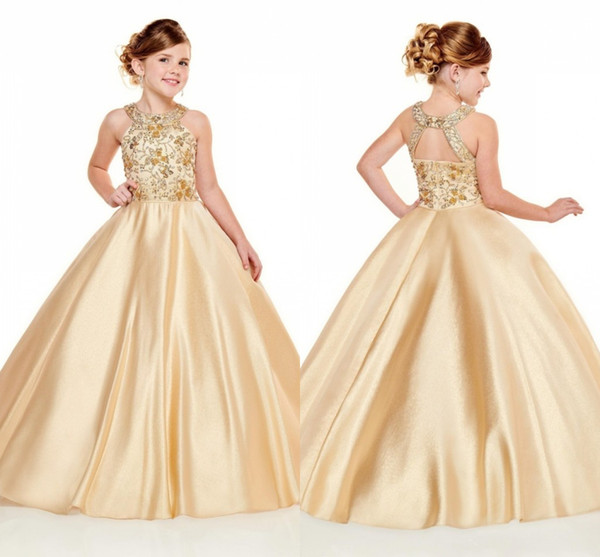 Newest 2020 Girls Pageant Dresses Halter Neck A Line Gold Beads Crystals Top Long Toddler Kids Formal Party Prom Gowns Flower Girl Wear