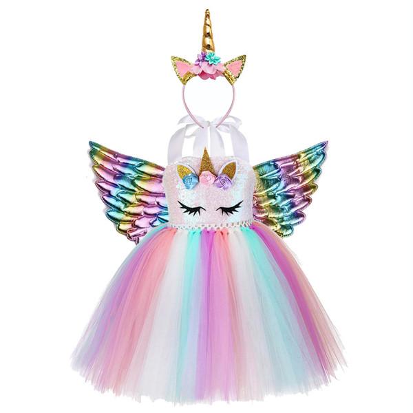 Little Child Pony Dress Unicorn Birthday Tutu Dress for Girls Unicorn Dress Sequin Top Pastel Clothing Kids Christmas Vestidos