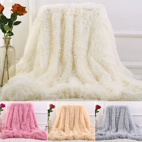 Double-faced Faux Fur Blanket Soft Fluffy Sherpa Throw Blankets for beds cover Shaggy Bedspread plaid fourrure Tapestry