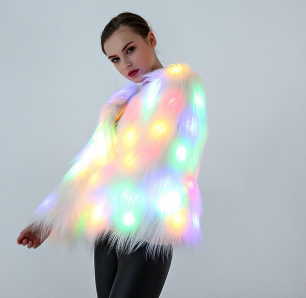 New Color LED Luminous Faux Fur Coat Lady Bar Dance Show Nightclub Clothes DJ Costumes Christmas Halloween Party Cospaly Female jacket GFIT