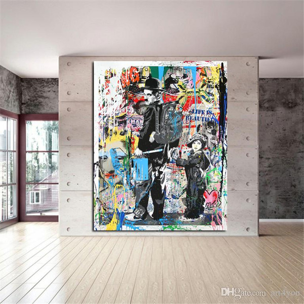 Free Shipping,Hand-painted & HD Print Modern Abstract Graffiti Pop Art Oil painting Charlie Chaplin,On Canvas,Home Deco Wall Art g295