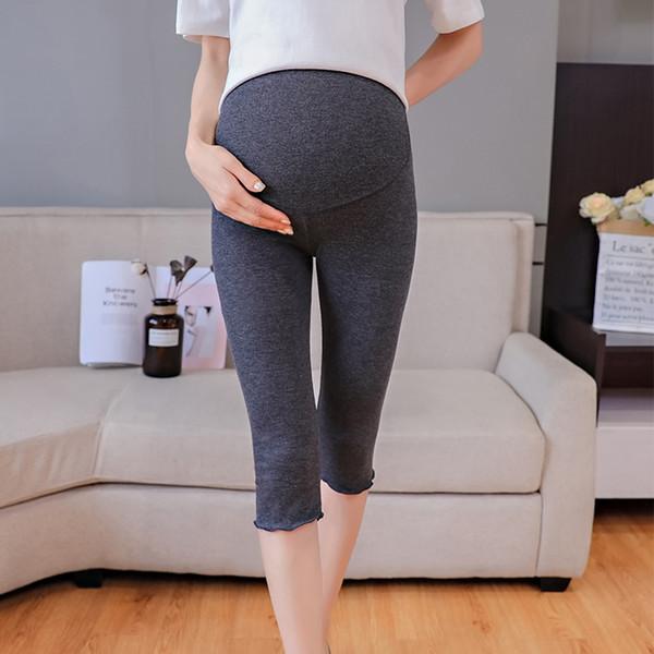 8045 # 7/10 Comprimento Hot Maternidade Legging Verão Elástico Na Cintura Barriga Capris Calças Roupas para Mulheres Grávidas Gravidez Magro