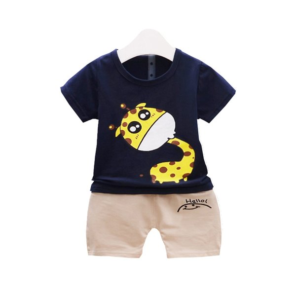Kids Cartoon Giraffe Outfit Infant T-shirt Shorts 2Pcs/Sets New Fashion Baby Boys Girl Clothing Sets Children Cotton Tracksuits