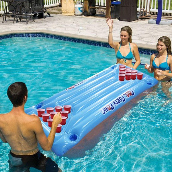 Pool Party Games Floating Row Raft Lounger Inflatable PVC Deck Chair Drink Coaster Adults Beer Pong Portable 49wff1