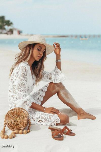 2019 neue sommer frauen bikini vertuschen blumenspitze hohl häkeln badeanzug vertuschungen badeanzug beachwear tunika strand dress hot