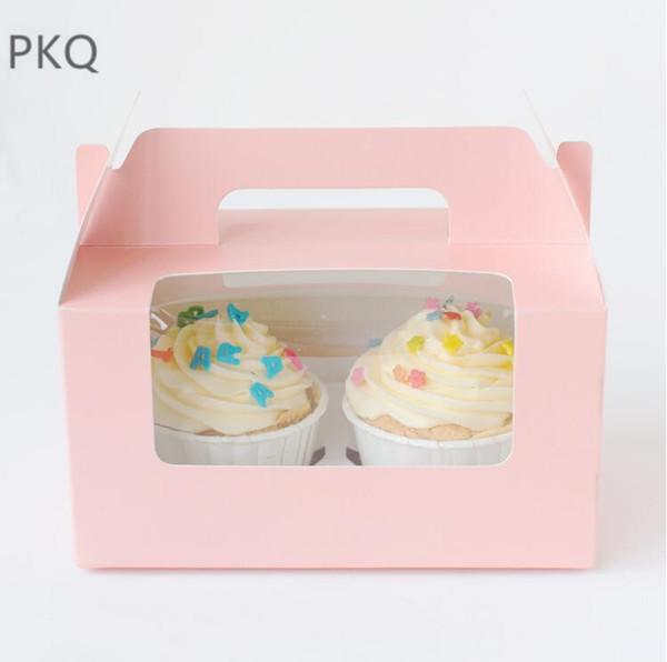 Il contenitore di torta rosa del bigné di 2 blu, scatole di torta di compleanno della carta bianca, scatole di dessert del formaggio della pasta portatile della mano fornisce 20pcs / lot