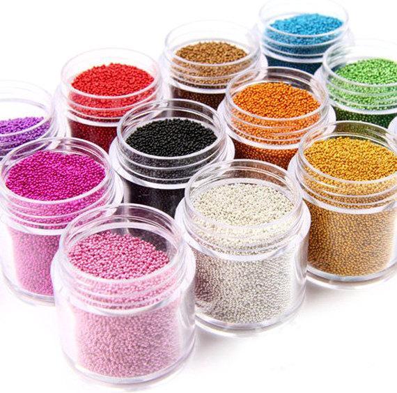 1 Box 0.6-0.8-1MM Caviar Nail Art Bead Rhinestone for Nails Micro Nai Crystal Ball 3D Nail Art Decorations 15Colors choice C19011401