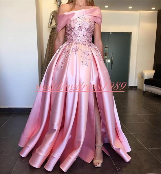 Exquisito vestido de noche con frente de Dubai Vestido con cuentas Apliques Satén Árabe Fiesta larga Baile de fin de semana Talla grande Ocasión Ocasión