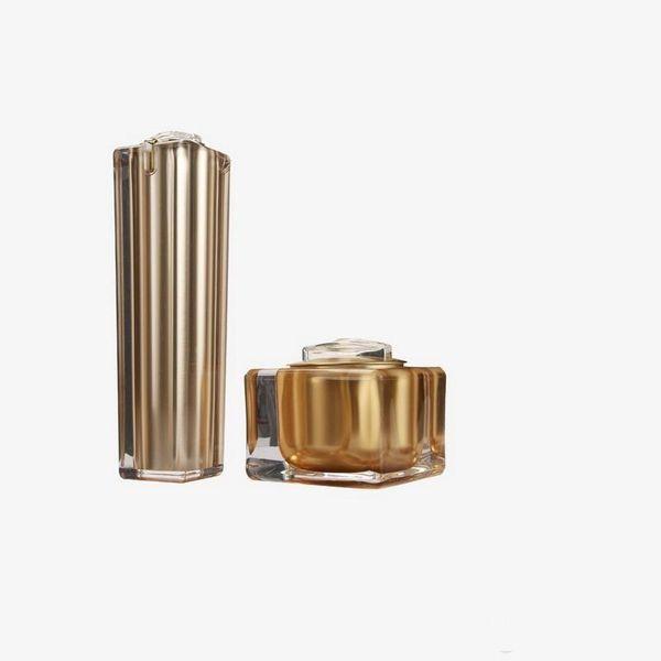 1 * 50г 2 * 50мл 3 * 100мл Пустая Золотая Квадратная Форма Акриловый Лосьон Крем-Насос Бутылка Косметический Контейнер Люкс Бантик крем баночка